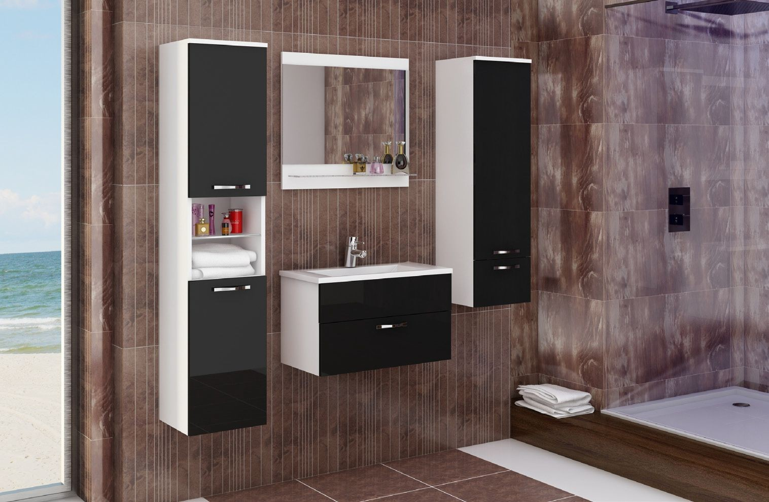 badm bel komplett 6 teilig hochglanz schwarz 51004. Black Bedroom Furniture Sets. Home Design Ideas