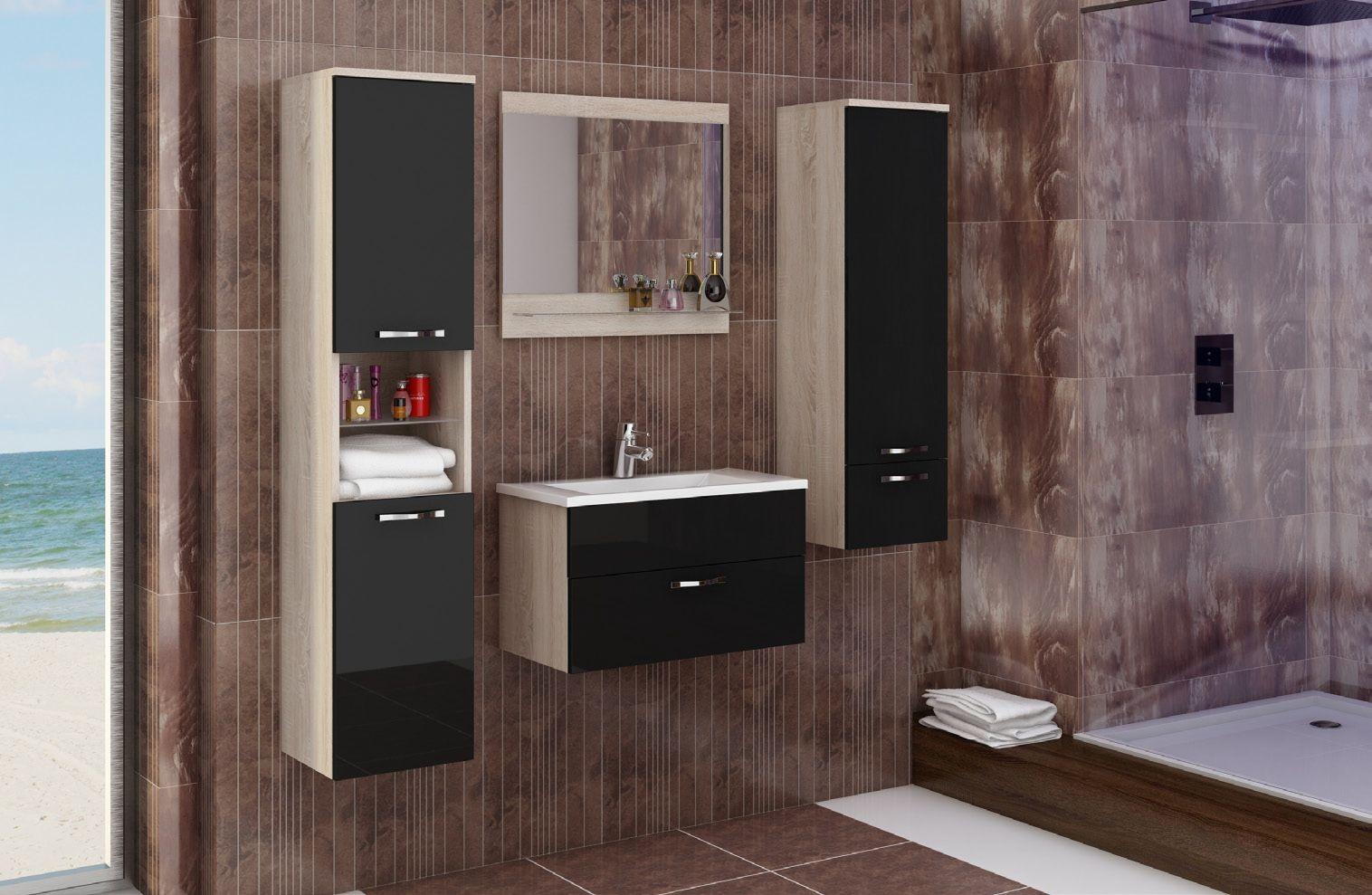 Badmöbel komplett 6 teilig schwarz hochglanz 52004
