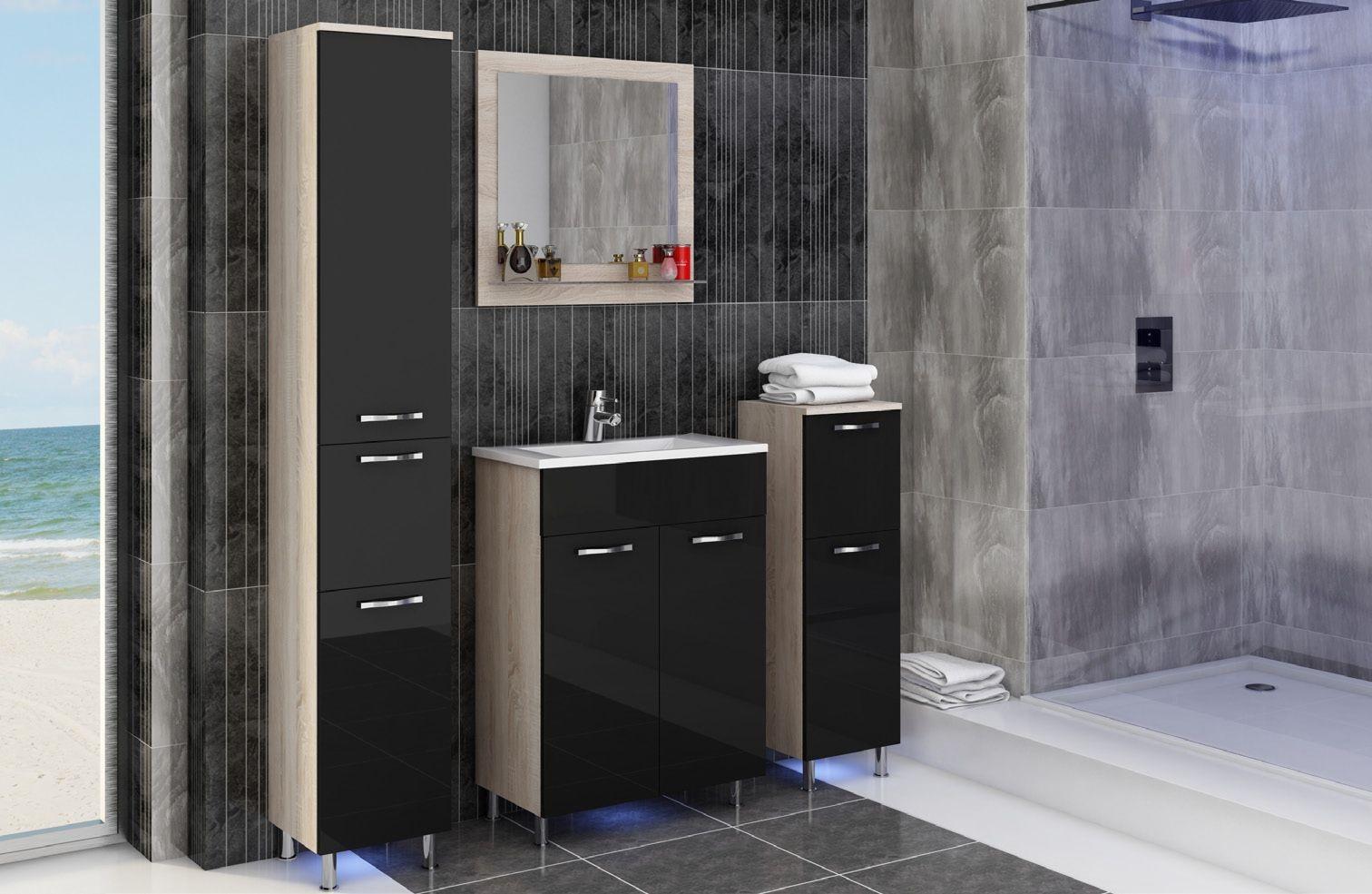 badmobel schwarz, badmöbel komplett 5 teilig schwarz weiß 54004, Design ideen