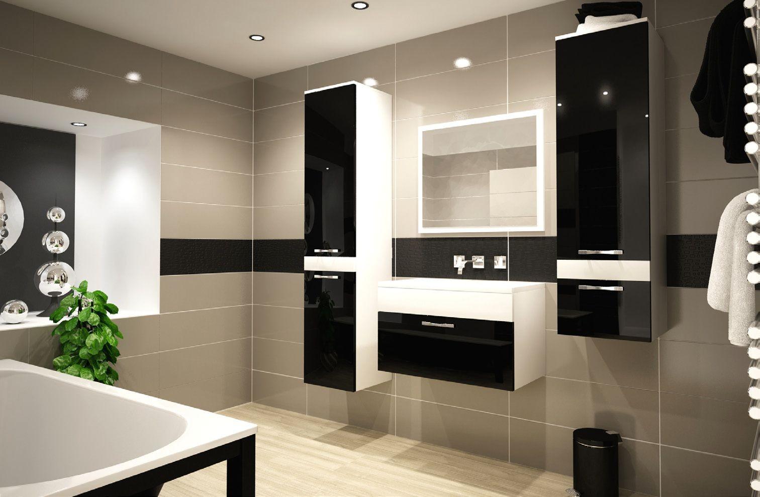 badmobel schwarz, badmöbel komplett 6 teilig hochglanz schwarz 55004, Design ideen