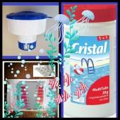 SPAR SET Cristal MultiTabs 20g 1kg 5in1 Dosierschwimmer Testkit Testtabletten POOL SET