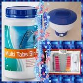 SPAR SET MultiTabs 200g 1kg 5in1 Dosierschwimmer Testkit Testtabletten POOL SET