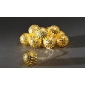 Deko Lichterkette LED mit goldenen Bällen
