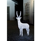Konstsmide 6168-203 LED Acryl Rentier / weiblich / 160 kalt weiße Dioden / 24V Außentrafo / transparentes Kabel