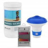 SPAR SET 1 MultiTabs 20g 1kg 5in1 Dosierschwimmer Testkit Testtabletten POOL SET